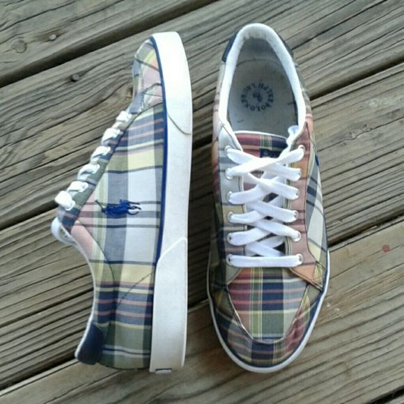 3e3ffe5e5cc1 Men s 12D polo Ralph Lauren Madras Deck Shoes. M 5ab594049d20f04048962209